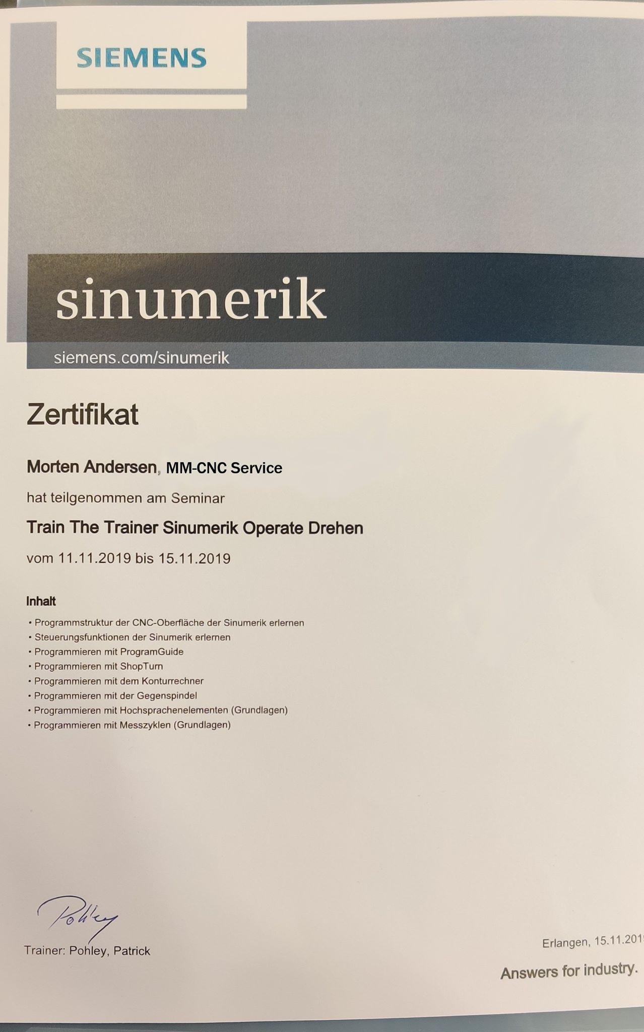 Siemens certofikat